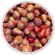 Red Bartlett Pears Round Beach Towel