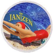 Red Bathing Suit Round Beach Towel
