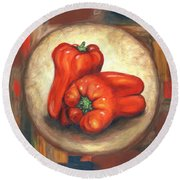 Red Bell Peppers Round Beach Towel