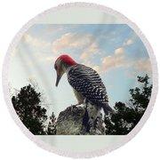 Red-bellied Woodpecker - Tree Top Round Beach Towel