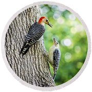 Red-bellied Woodpeckers Round Beach Towel