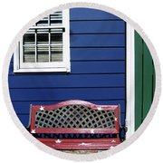 Red Bench Blue House Round Beach Towel