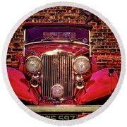 Red Bentley Convertible Round Beach Towel