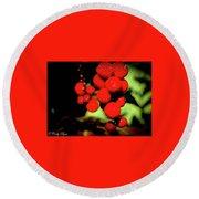 Red Berries Round Beach Towel