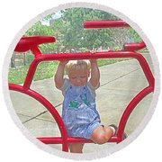 Red Bicycle Round Beach Towel