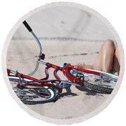 Red Bike On The Beach Round Beach Towel