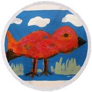 Red Bird In Grass Round Beach Towel