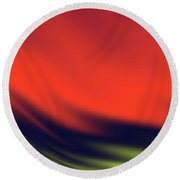 Red, Black And Yellow Waves Round Beach Towel