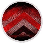 Red Black Chevron Round Beach Towel