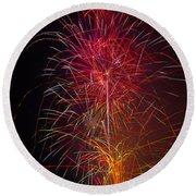 Red Blazing Fireworks Round Beach Towel