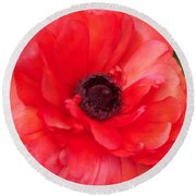 Red Bloom Round Beach Towel