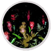 Red Blooms Round Beach Towel
