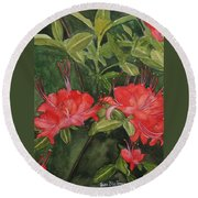 Red Blooms On The Parkway Round Beach Towel