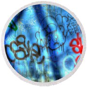 Red, Blue, And Black Tags Round Beach Towel