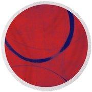 Red Blue Ensos Round Beach Towel