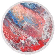 Red Blue White Abstract Round Beach Towel