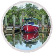 Red Boat Docked Florida Round Beach Towel