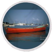 Red Boat Mexico Round Beach Towel
