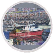 Red Boat Reflections Round Beach Towel