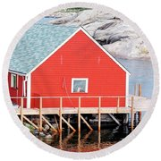 Red Boathouse Round Beach Towel