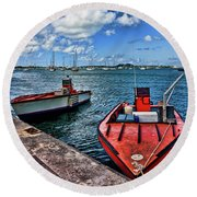 Red Boats At Blue Pier Round Beach Towel