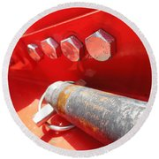 Red Bolt Action Round Beach Towel