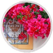 Red Bougainvilleas Round Beach Towel