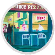 Red Boy Pizza Round Beach Towel