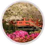 Red Bridge And Blossoms Round Beach Towel