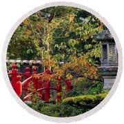 Red Bridge & Japanese Lantern, Autumn Round Beach Towel