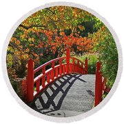 Red Bridge With Shadows Round Beach Towel