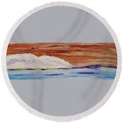 Red Brown Sky Round Beach Towel