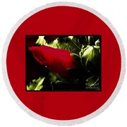 Red Bud On Green Background Round Beach Towel