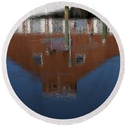 Red Building Reflection Round Beach Towel