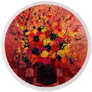 Red Bunch Round Beach Towel