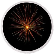 Red Burst Round Beach Towel by Phill Doherty