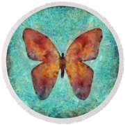 Red Butterfly Round Beach Towel