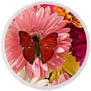 Red Butterfly On Bunch Of Flowers Round Beach Towel