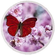 Red Butterfly On Plum  Blossom Branch Round Beach Towel