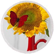 Red Butterfly On Sunflower On Red Pitcher Round Beach Towel by Garry Gay