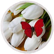 Red Butterfly On White Tulips Round Beach Towel by Garry Gay