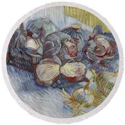 Red Cabbages And Onions Paris, October - November 1887 Vincent Van Gogh 1853  1890 Round Beach Towel