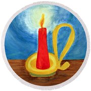 Red Candle Lighting Up The Dark Blue Night. Round Beach Towel