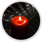 Red Candle Round Beach Towel