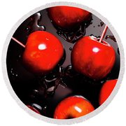 Red Candy Apples Or Apple Taffy Round Beach Towel