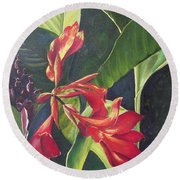 Red Cannas Round Beach Towel by Deleas Kilgore