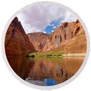 Red Canyon Reflections Round Beach Towel