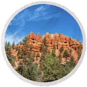 Red Canyon Tableau Round Beach Towel
