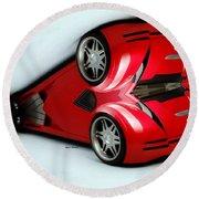 Red Car 007 Round Beach Towel