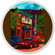 Red Car Blue Sky Round Beach Towel